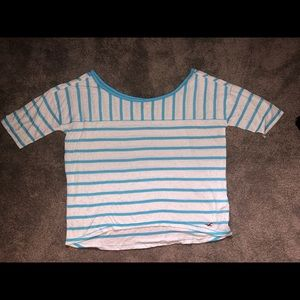 HOLLISTER teal & white striped crop top
